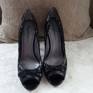 Ellen Tracy Peep Toe Black Pump